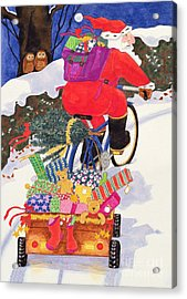 Santas Bike Acrylic Print by Linda Benton