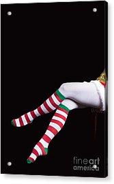 Santas Helper Legs Christmas Card Acrylic Print by Edward Fielding