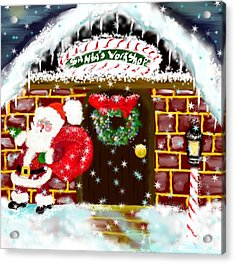 Acrylic Print featuring the painting Santa's Workshop by Lori  Lovetere