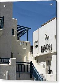 Acrylic Print featuring the photograph Santorini Apartments by Don McGillis