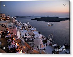 Santorini At Dusk Acrylic Print by David Smith