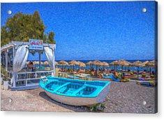 Santorini Beach Boat Grk4151 Acrylic Print