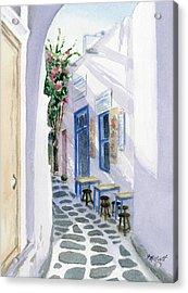 Santorini Cafe Acrylic Print by Marsha Elliott