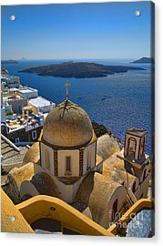Santorini Caldera With Church And Thira Village Acrylic Print by David Smith
