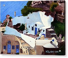 Santorini Cave Homes Acrylic Print by Mike Robles