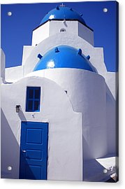 Acrylic Print featuring the photograph Santorini Church  by Colette V Hera  Guggenheim