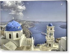 Santorini Churches Acrylic Print by Alex Dudley