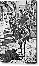 Santorini Donkey Train. Acrylic Print by Meirion Matthias