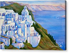 Santorini Greece Watercolor Acrylic Print by Michelle Wiarda