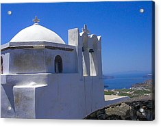 Santorini Hilltop Chapel Acrylic Print