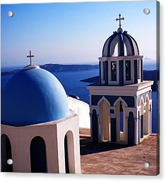 Acrylic Print featuring the photograph Santorini  Island Church Greece  by Colette V Hera  Guggenheim
