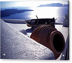 Acrylic Print featuring the photograph Santorini Island Early Sunset View Greece by Colette V Hera  Guggenheim