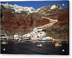 Santorini  Island  View To Oia Greece Acrylic Print by Colette V Hera  Guggenheim