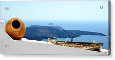 Santorini Rooftop Acrylic Print by Corinne Rhode