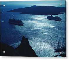 Acrylic Print featuring the photograph Santorini  Silent Night View Greece by Colette V Hera  Guggenheim