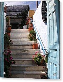 Santorini Steps Acrylic Print by Mel Steinhauer