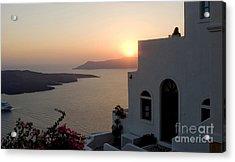 Santorini Sunset 24x14 Acrylic Print by Leslie Leda