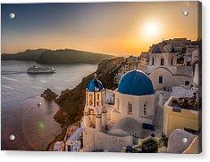 Santorini Sunset Cruise Acrylic Print