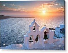 Santorini Sunset Acrylic Print by Evgeni Dinev