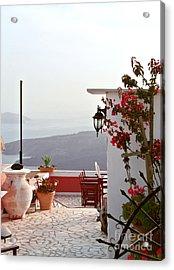 Santorini Terrace Acrylic Print by Sarah Christian