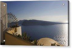 Santorini View 24x14 Acrylic Print by Leslie Leda
