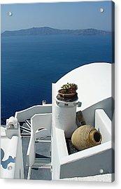 Santorini Welcome Acrylic Print by Julie Palencia