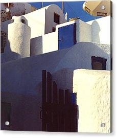Santorini White Acrylic Print by Andrea Simon