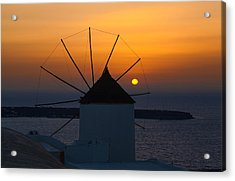 Santorini Windmill Sunset Acrylic Print