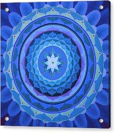 Sapphire Mandala Acrylic Print by Vlatka Kelc