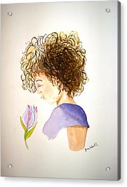 Sarah Acrylic Print by June Holwell