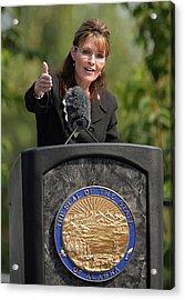 Sarah Palin Hands Over Power To Alaska's Lt. Gov. Sean Parnell Acrylic Print by Eric Engman