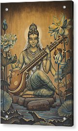 Sarasvati Shakti Acrylic Print by Vrindavan Das
