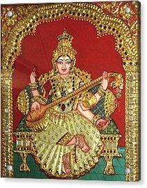 Saraswathi  Acrylic Print by Jayashree