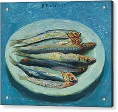 Sardines On A White Plate Acrylic Print by Ben Rikken