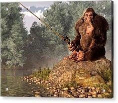Sasquatch Goes Fishing Acrylic Print