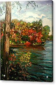 Acrylic Print featuring the painting Sassaquin Pond by Ray Khalife