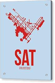 Sat San Antonio Airport Poster 1 Acrylic Print by Naxart Studio
