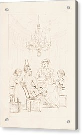 Satan And Three Men At A Table Acrylic Print by Auguste Hervieu