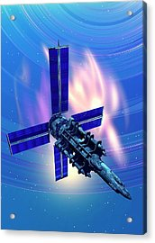 Satellite In Space Acrylic Print by Victor Habbick Visions