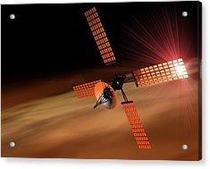 Satellite Orbiting Mars, Artwork Acrylic Print by Victor Habbick Visions
