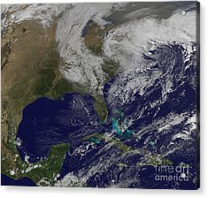 Satellite View Of A Noreaster Storm Acrylic Print by Stocktrek Images