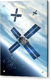Satellites Orbiting The Earth Acrylic Print by Victor Habbick Visions