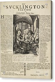 Satire On Gluttony, 17th Century Acrylic Print by British Library