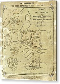 Satirical Map For Lovers Acrylic Print by Library Of Congress, Geography And Map Division