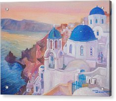 Acrylic Print featuring the painting Santorini Greece by Paul Weerasekera