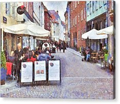 Saturday Brunch At A Copenhagen Cafe Acrylic Print by Digital Photographic Arts