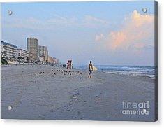 Saturday Morning Surfer Acrylic Print by Deborah Benoit