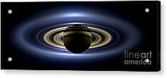 Saturn Cassini View High Contrast Acrylic Print