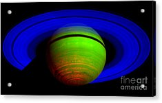 Saturn In Color Acrylic Print by Paul Ward