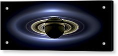 Saturn Mosaic With Earth Acrylic Print by Adam Romanowicz